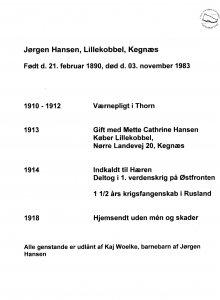 Kort levnesbeskrivelse for Jørgen Hansen